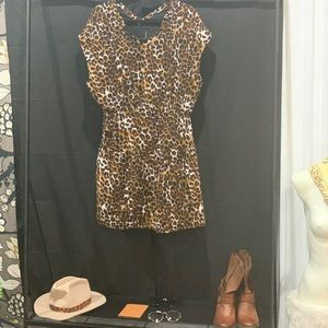 Pleated animal print dress.